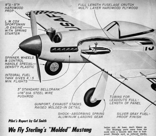 Sterling 36-inch RTF CL P-51 Mustang w/Cox .15 Sportsman Sterli10