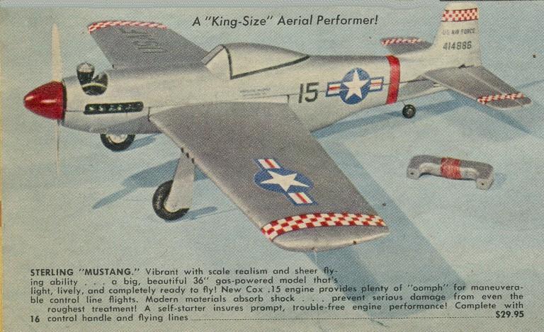 Sterling 36-inch RTF CL P-51 Mustang w/Cox .15 Sportsman Sterli11