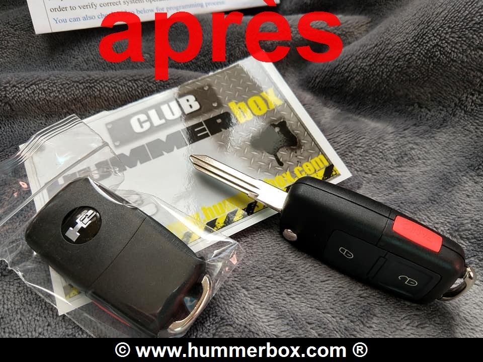 Astuce pour Hummer H2 : nouveauté télécommande avec la clé intégrée et mode d'emploi en français disponible au Club Hummerbox 56380110