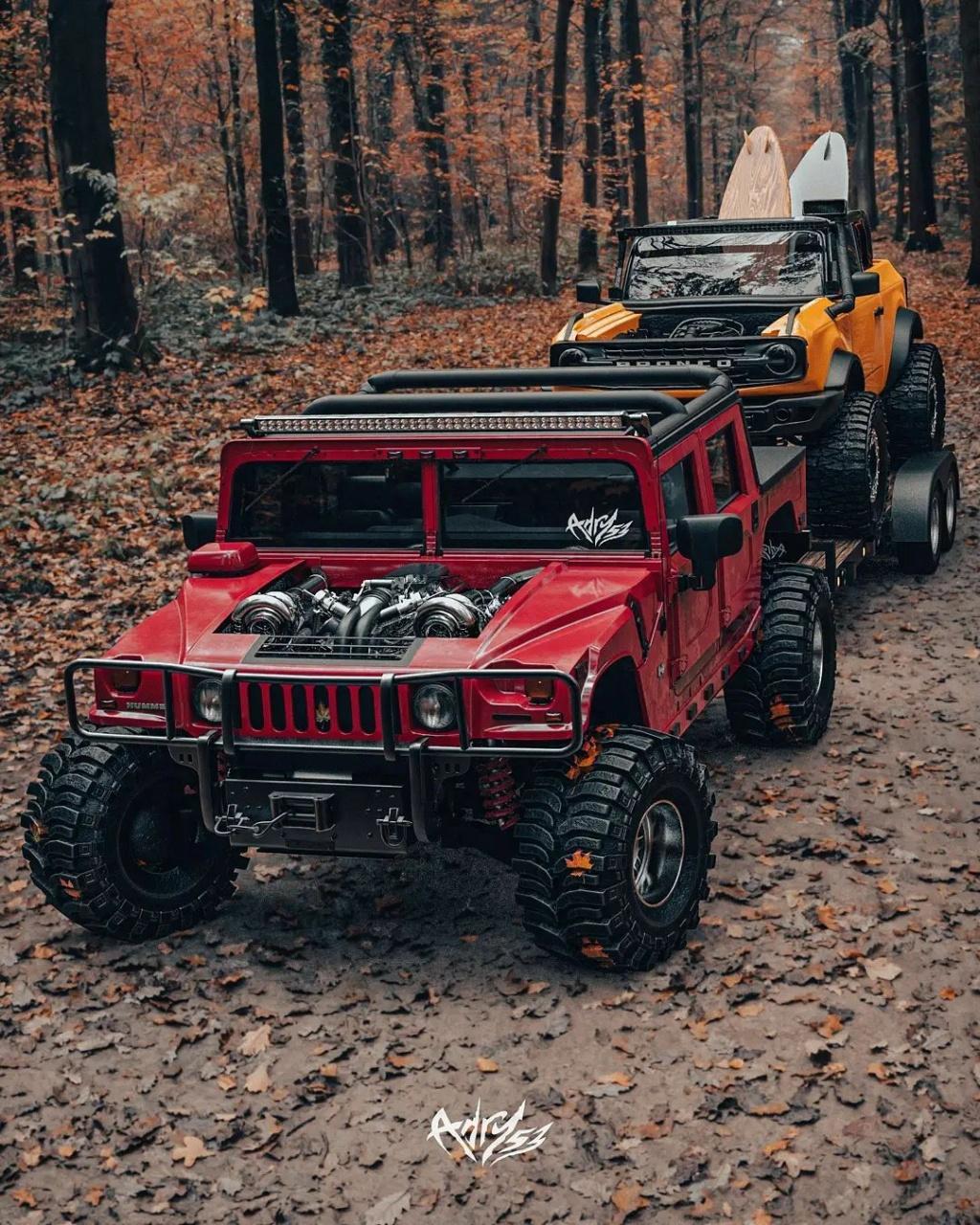 Mettez 2 TurboTurbo dans  le Hummer H1 Alpha et ajouter le nouveau Bronco en remorquage pour une embarcation de OUF Twin-t10