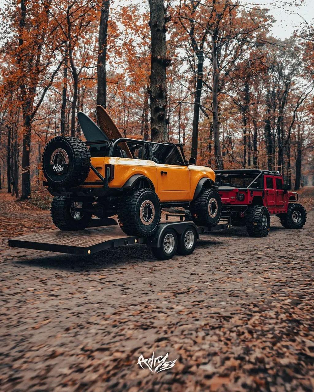 Mettez 2 TurboTurbo dans  le Hummer H1 Alpha et ajouter le nouveau Bronco en remorquage pour une embarcation de OUF Twin-t16