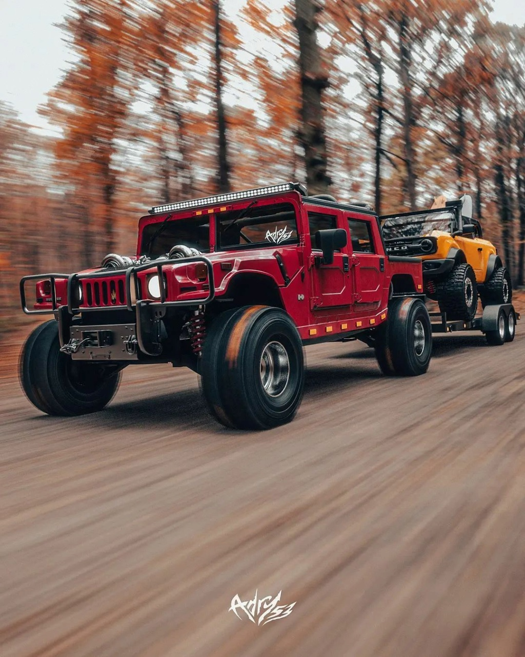 Mettez 2 TurboTurbo dans  le Hummer H1 Alpha et ajouter le nouveau Bronco en remorquage pour une embarcation de OUF Twin-t18
