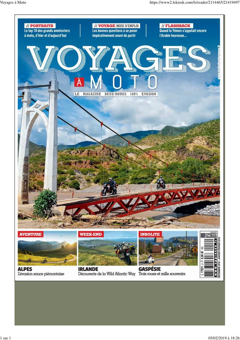 "- Magazine ""Voyages à moto"" Voyage10"