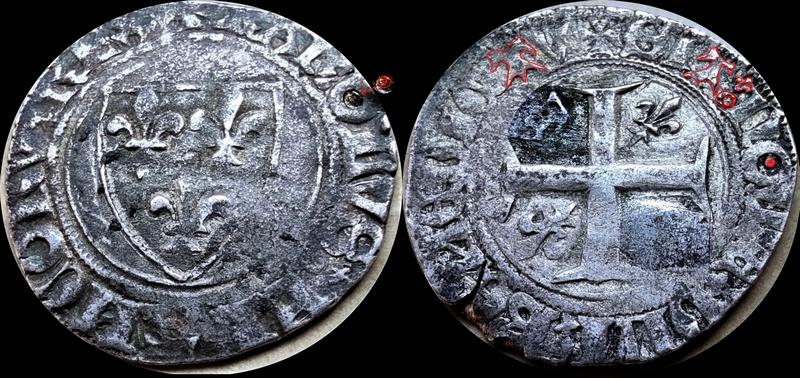 Blanc guénar de Charles VI vraisemblablement de l'atelier de Ste Menehould en 1411 Blanc_11