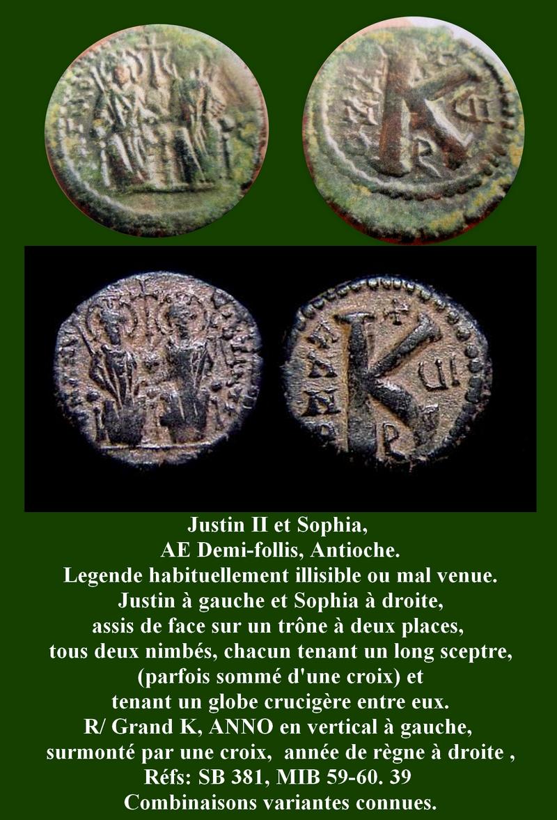 Demi-follis byzantin d'Antioche pour Justin II et Sophia ... George13