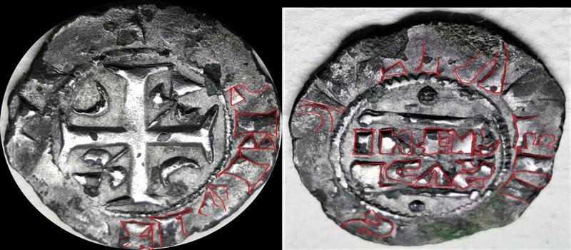 Denier champenois de l'archevéché de Reims pour Henri II (1227-1240) ... Jean-l14
