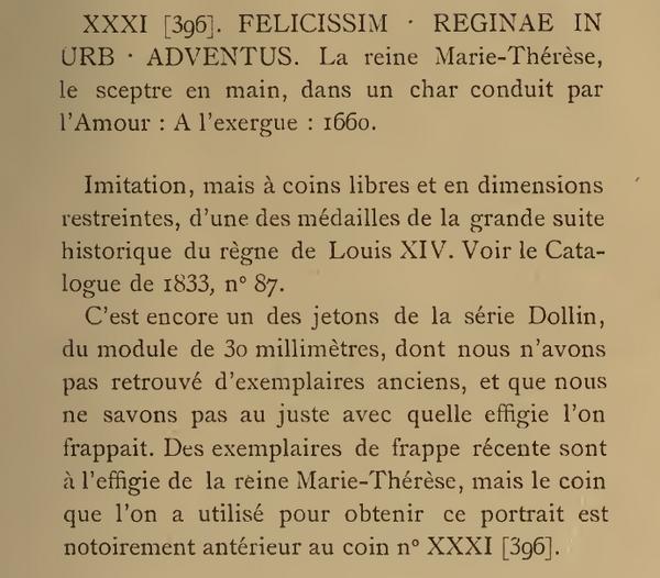 Jeton entrée de la reine à Paris 1660. Rbn_4610