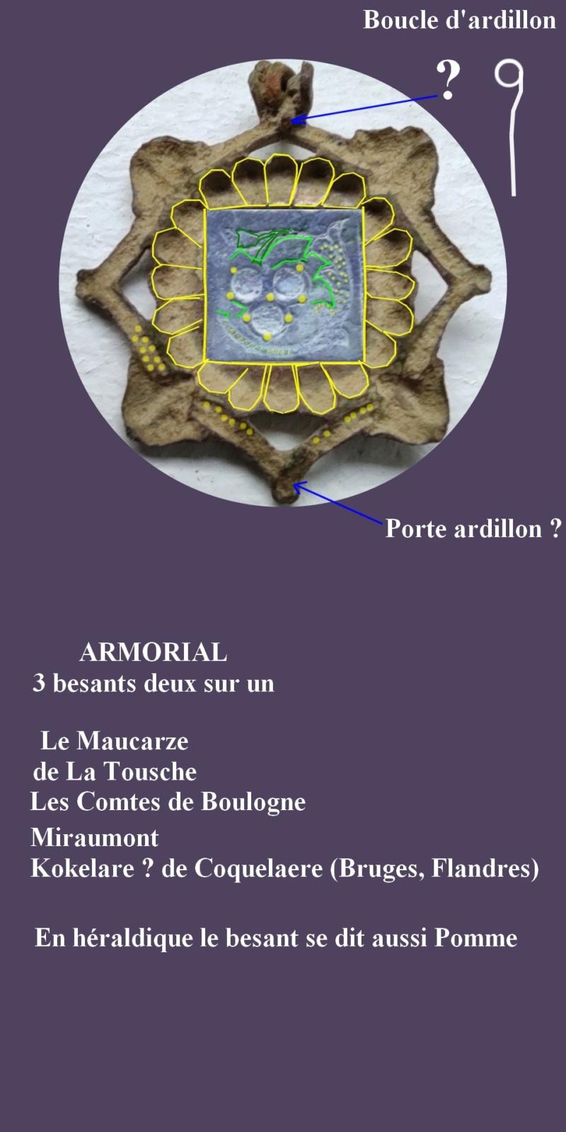 """Probablement petite broche ancienne, type """"héraldique"""", fin XVIIe - début XVIIIe Sorte_10"""