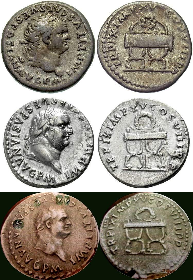 "Denier pour Titus, ""TR P IX IMP XV COS VIII P P"" ... Titus_10"