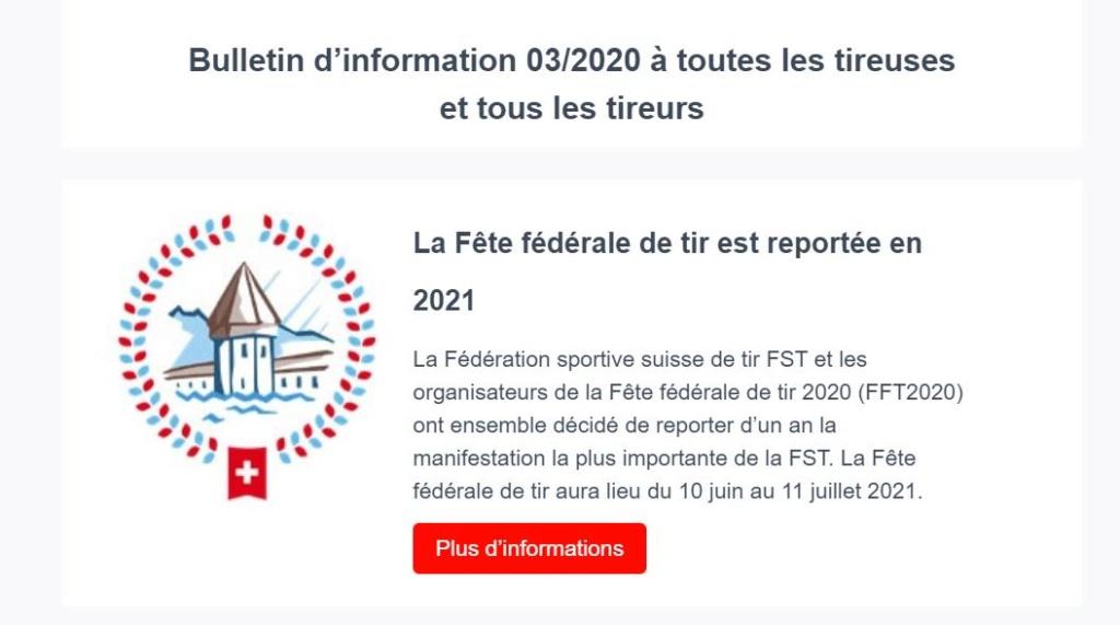 La Fête fédérale de tir est reportée en 2021 Tir10