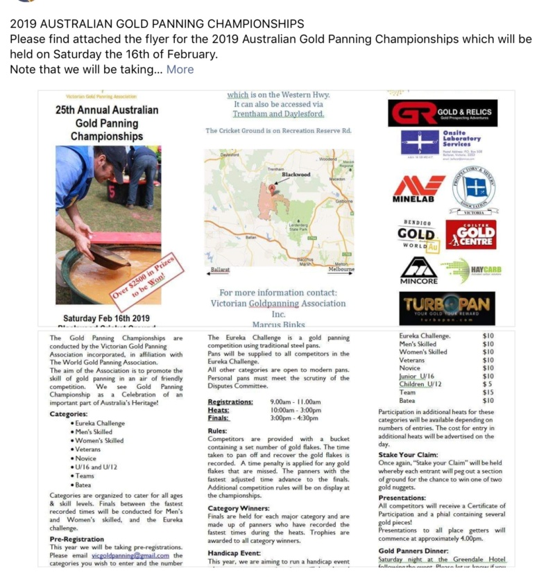 Coming event..... 2019 goldpanning championships 0dbed210