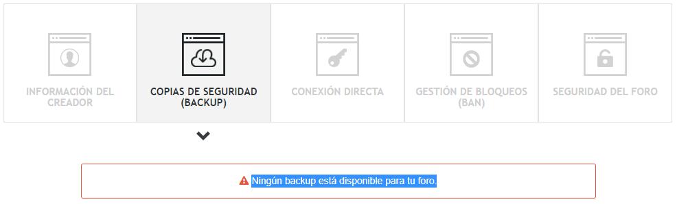 Ningún backup está disponible para tu foro. Captur11
