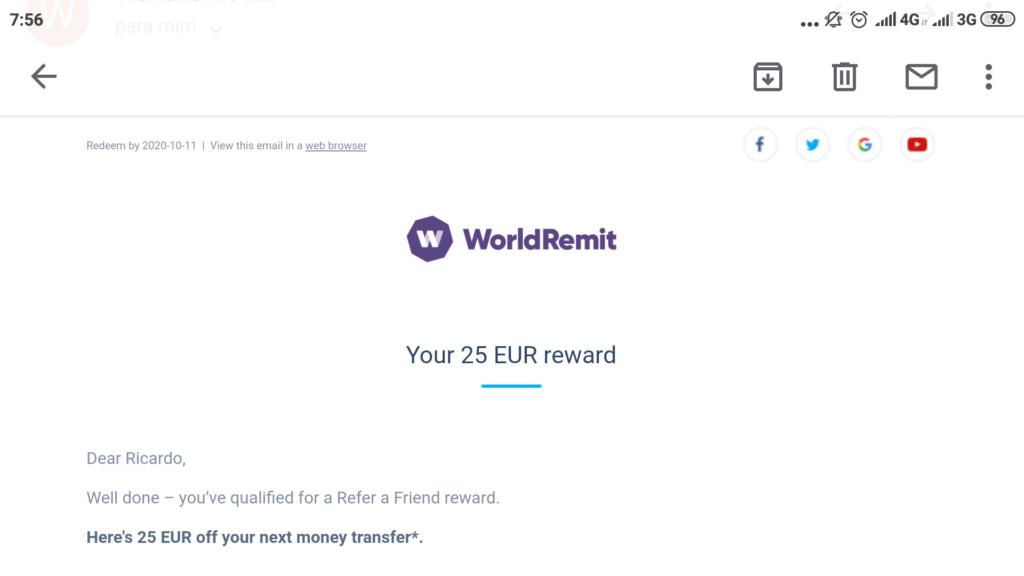 OPORTUNIDADE - [PROVADO] Ganha 25 € WorldRemit Screen11