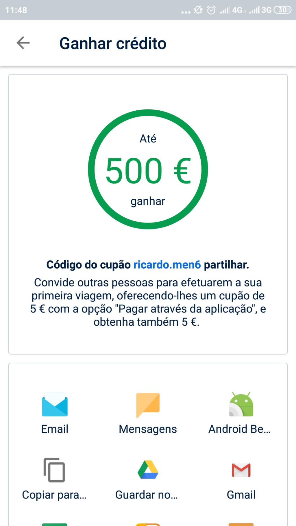 OPORTUNIDADE - [PROVADO] Ganha 5€ FreeNow Screen16