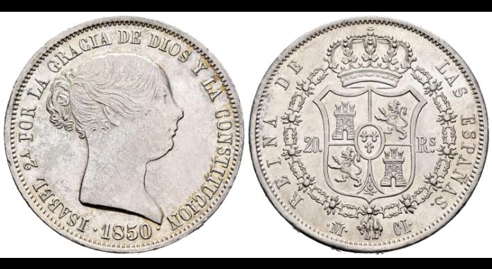 Isabel II (1833-1868). 20 reales. 1850. Madrid. CL Descar10