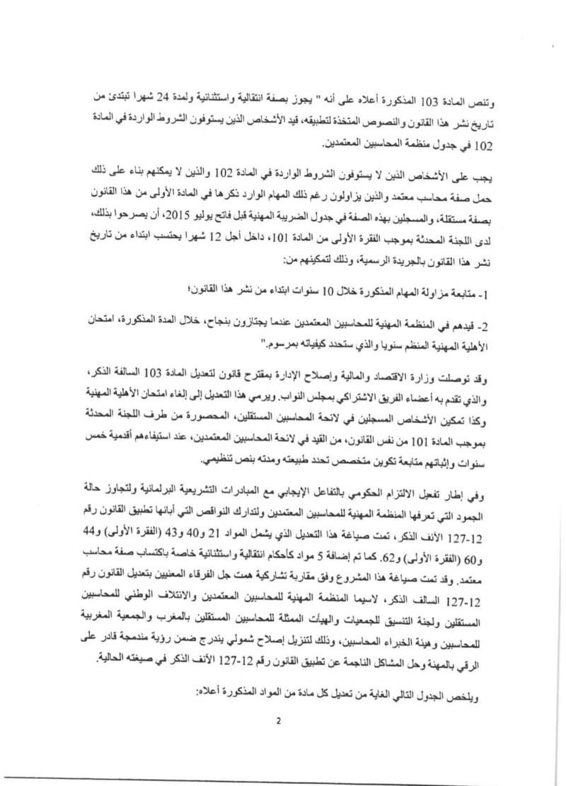التصويت بالإجماع على القانون 53.19 - المحاسبون المستقلون غير معنيين بامتحان الأهلية 210