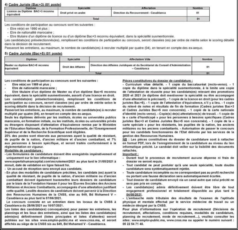 Offre d'emploi : CNSS 311