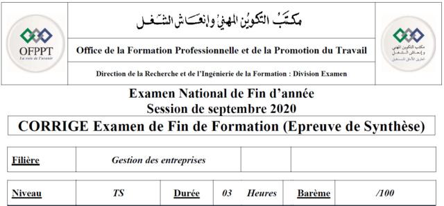 CORRIGE Examen de Fin de Formation (Epreuve de Synthèse) Corrig10