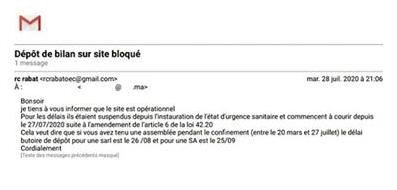 Report de délai de dépôt de bilan au tribunal - le délai de dépôt pour une SARL est le 26/08 et pour une SA est le 25/09 - Depot_10