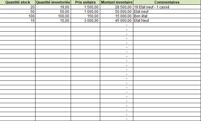 Modèles des inventaires sous Excel, Invent10