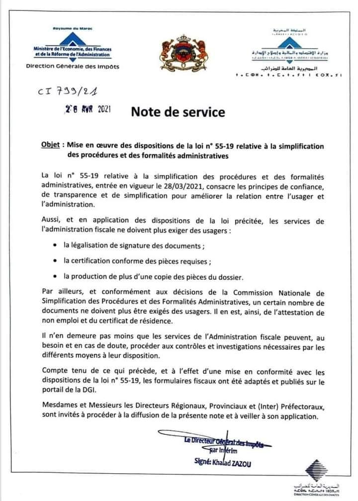 Loi 55-19 relative à la simplification des procédures et des formalité administratives Note10