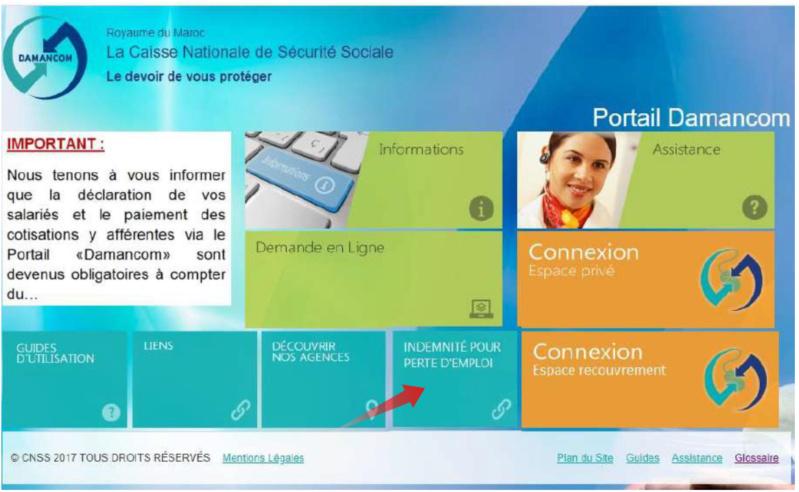 Mode opératoire du portail Indemnité pour Perte d'Emploi Perte10