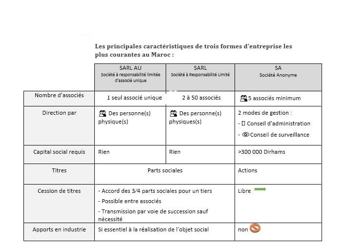 Les principales formes juridiques des entreprises les plus courantes au Maroc Sans_t10