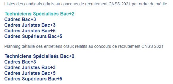 Liste des candidats admis au concours de recrutement CNSS 2021  Sans_t11
