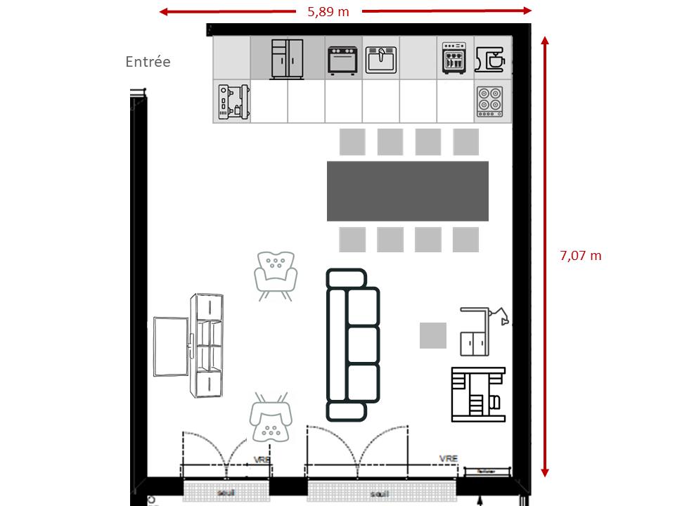 Comment agencer une cuisine ouverte sur un séjour carré Plan_210