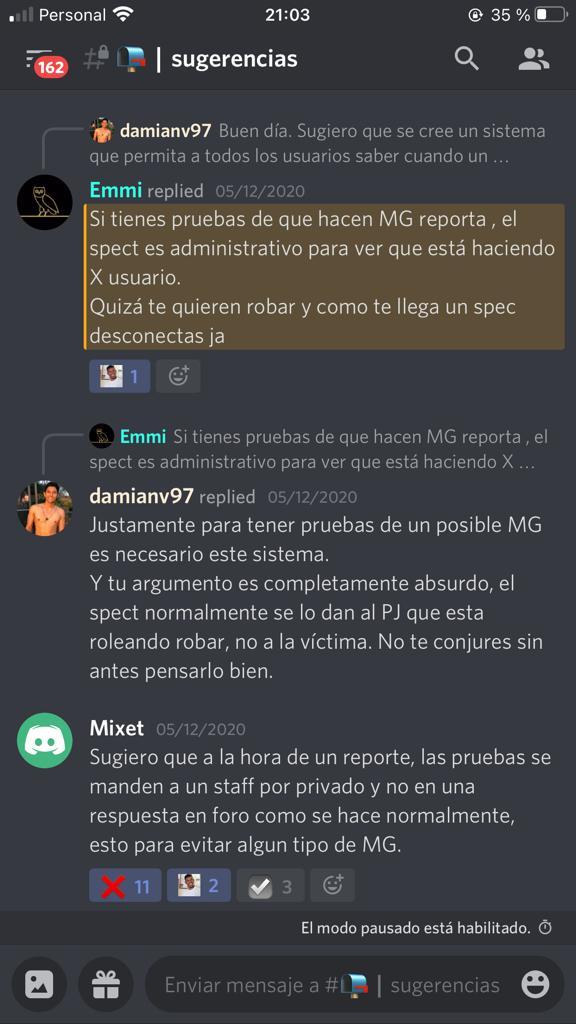 [Reporte] Staff Dante Angelo - Matias Gomez (MG utilizando spect, personaje legal e ilegal)  Whatsa11