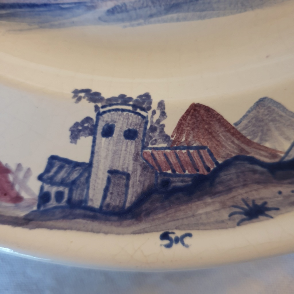 French /chinoiserie hand painted plate signed S.C - Saint Clement??  20210722