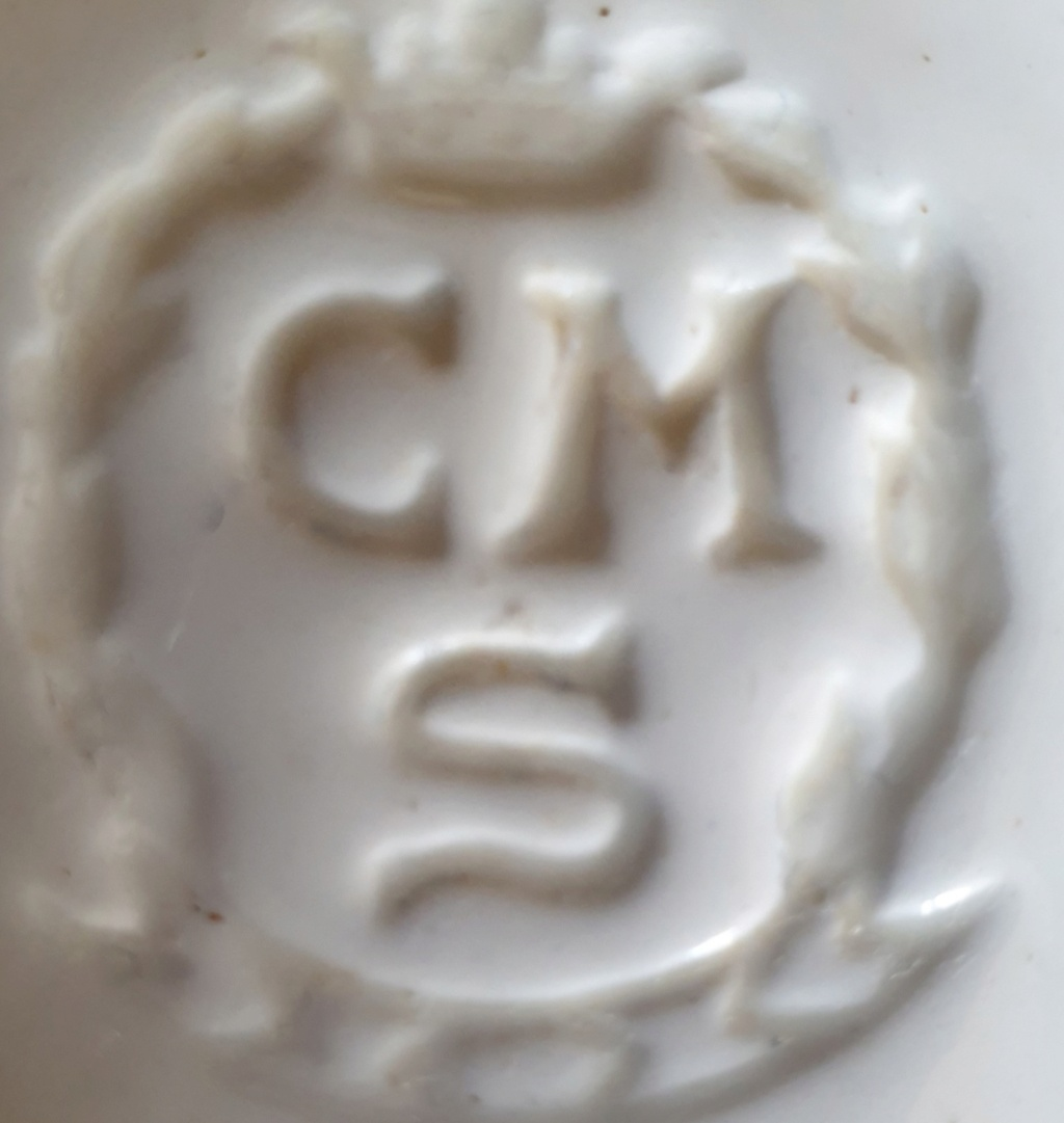 """Old willow plates stamped """"CMS"""" in wreath w crown, possibly French? Czech? 20210910"""