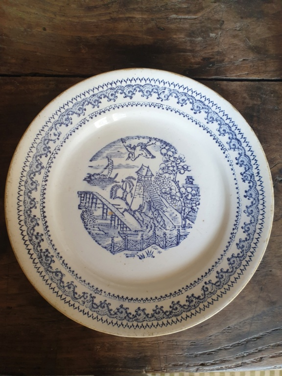 """Old willow plates stamped """"CMS"""" in wreath w crown, possibly French? Czech? 20210913"""