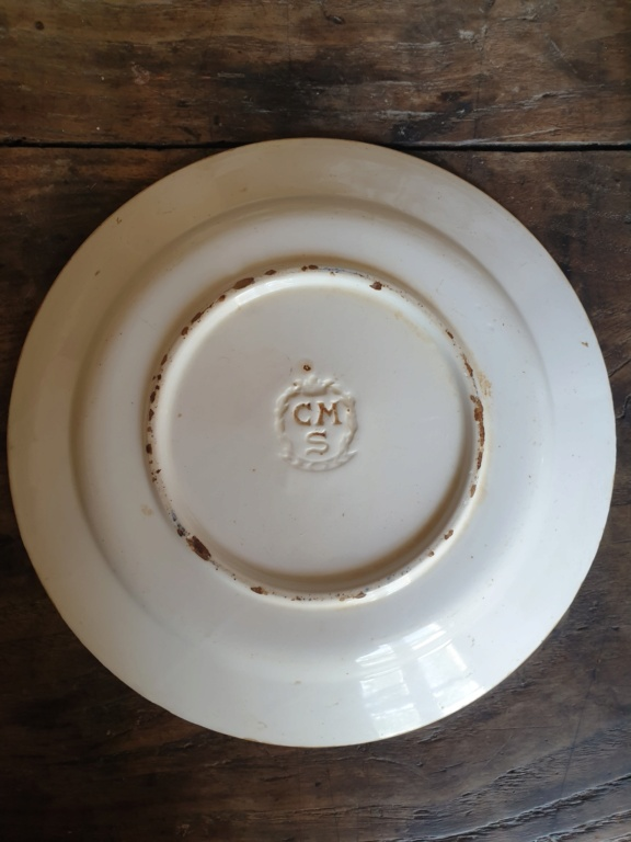 """Old willow plates stamped """"CMS"""" in wreath w crown, possibly French? Czech? 20210915"""