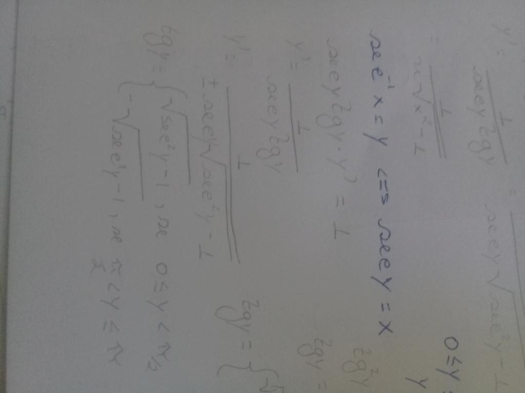 Como demonstrar a derivada arcsec(x) 20210710
