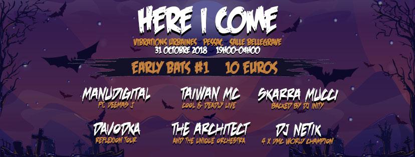 HERE I COME aux VIBRATIONS URBAINES présente: TAIWAN MC, MANUDIGITAL ft Deemas J, DAVODKA, SKARRA MUCCI, THE ARCHITECT & DJ NETIK Bann_h13