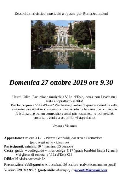 Escursione musicale a Villa d'Este - Tivoli (RM) Dom 27 ottobre 2019 - ore 9:30  72687611