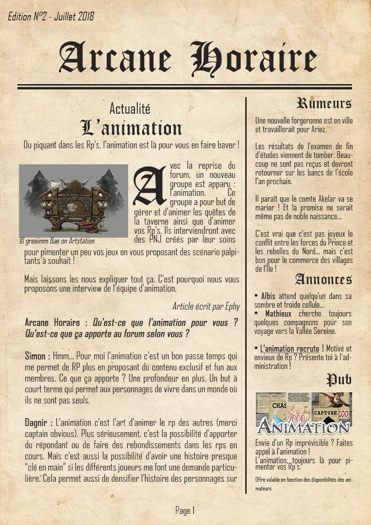 [Edition N°2] L'Animation, pour vous servir  Arcane24