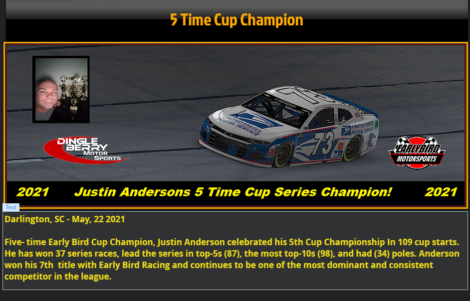 2021 Cup Series Champion Snaps288