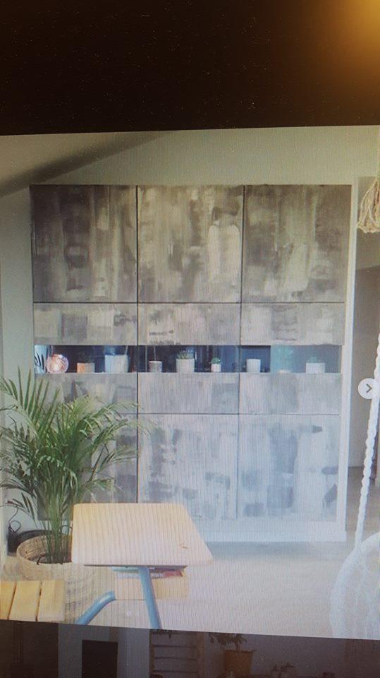 Repeindre meuble laqué noir en effet béton  44532910