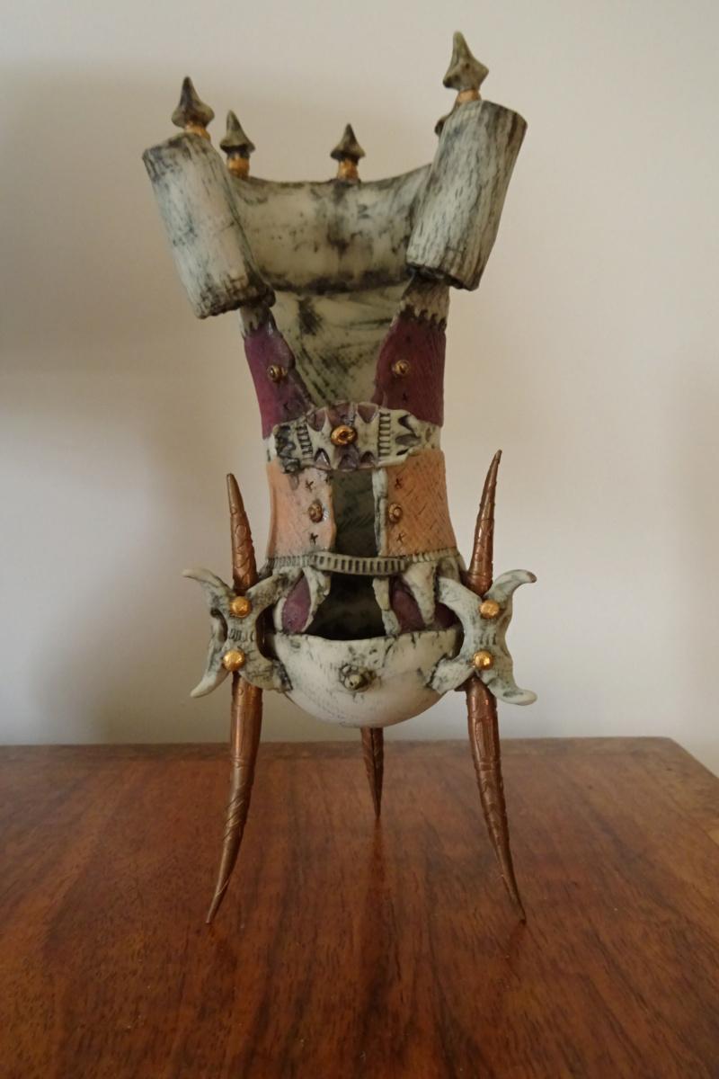 Fantasy ceramic on copper legs, Pam Schomberg of Colchester. Dsc02010
