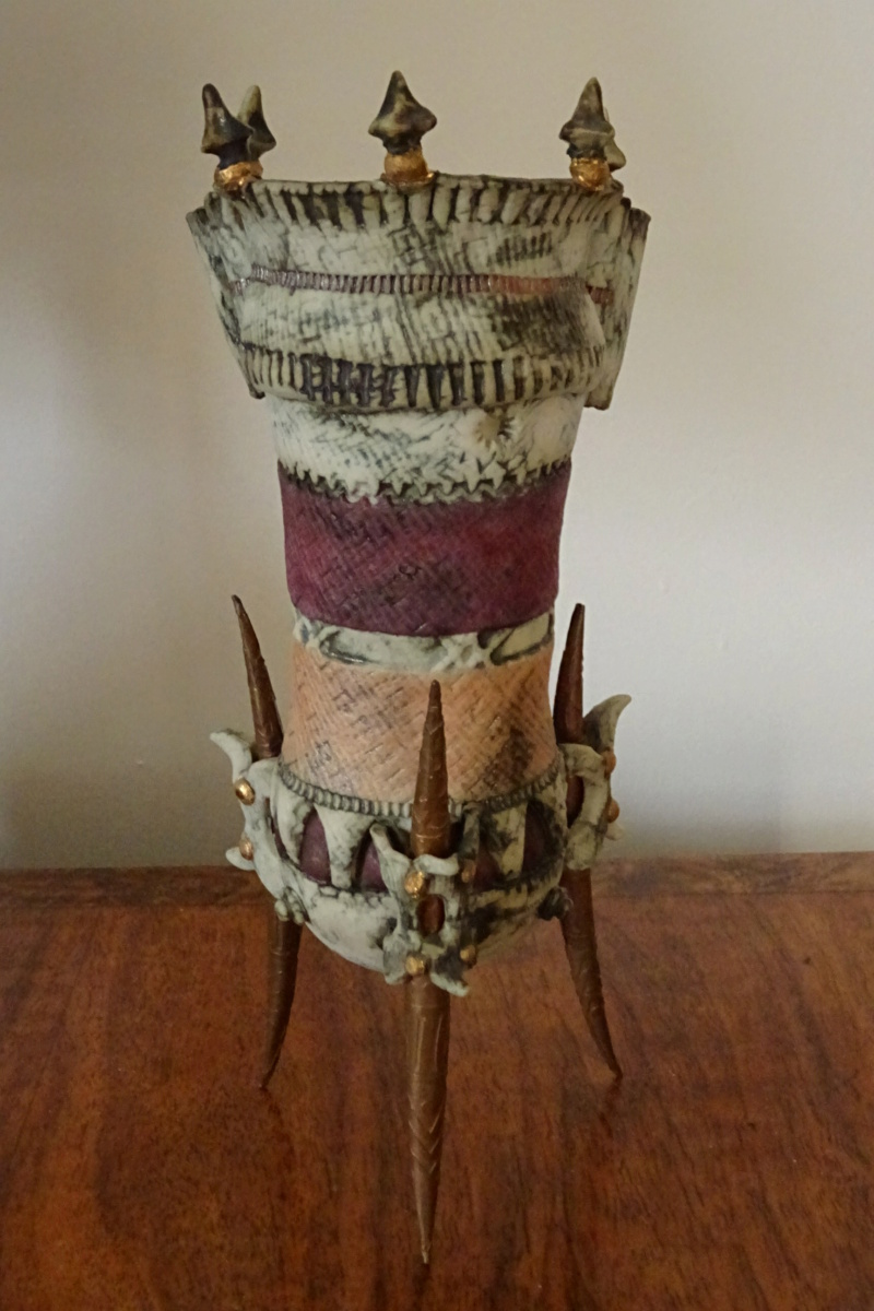 Fantasy ceramic on copper legs, Pam Schomberg of Colchester. Dsc02011