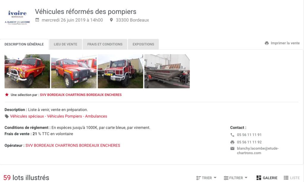 Vente à l'unité de 12 Unimog 1550L37 réformés pompier à Bordeaux le 26 juin 2019 Captur19