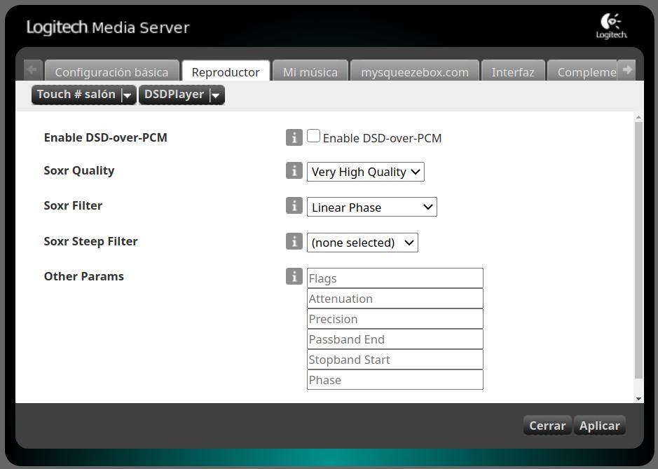 Poniendo al día un tinglado Logitech Media Server Selecc46