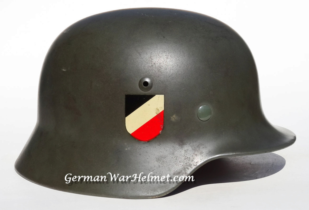 """Casque Wehrmacht M35 double insigne """"vert pomme"""" 1939_e11"""