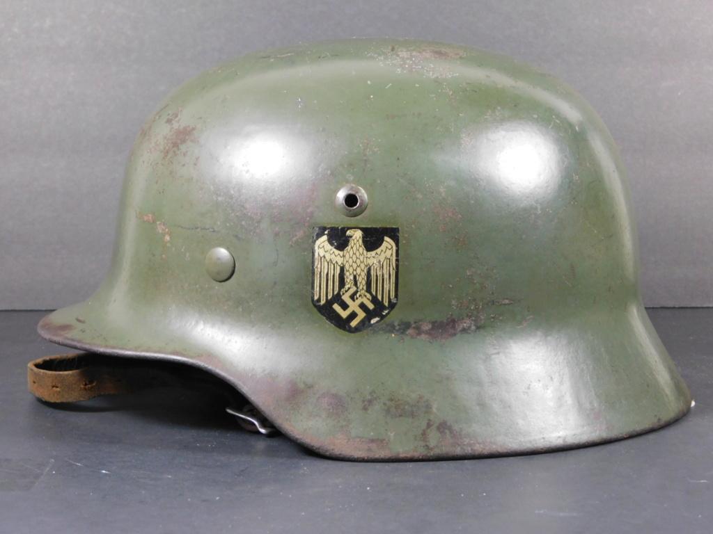 """Casque Wehrmacht M35 double insigne """"vert pomme"""" Et6612"""