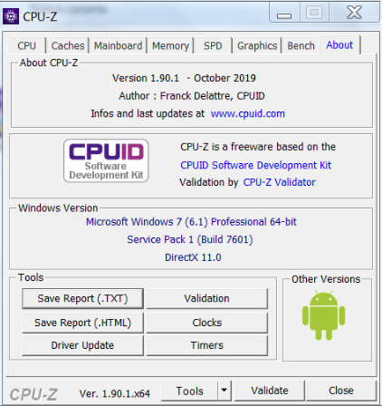 CPUZ - Utility to view data from CPU 11111110