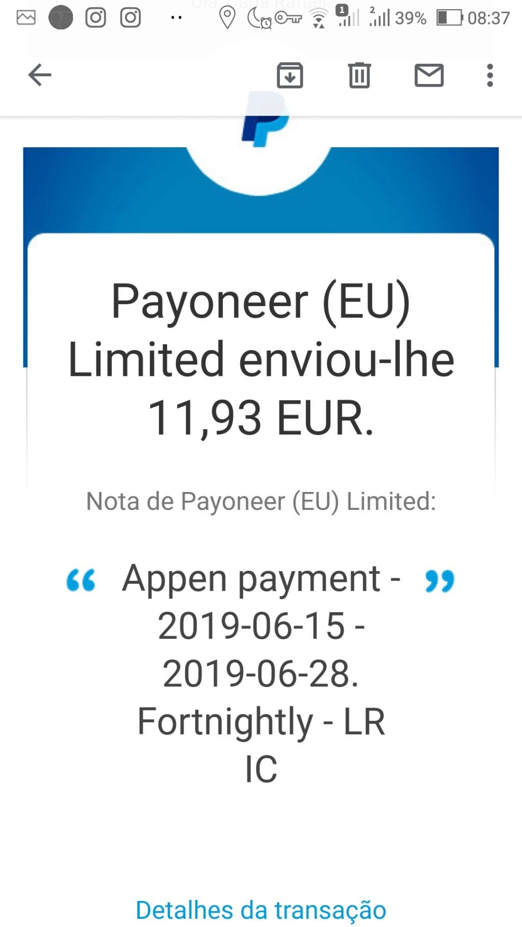 Oportunidade [Provado] Appen - Recebe por tarefas de transcrição de áudio, tradução, pesquisa, etc - (ganhei 245 euros) Screen46