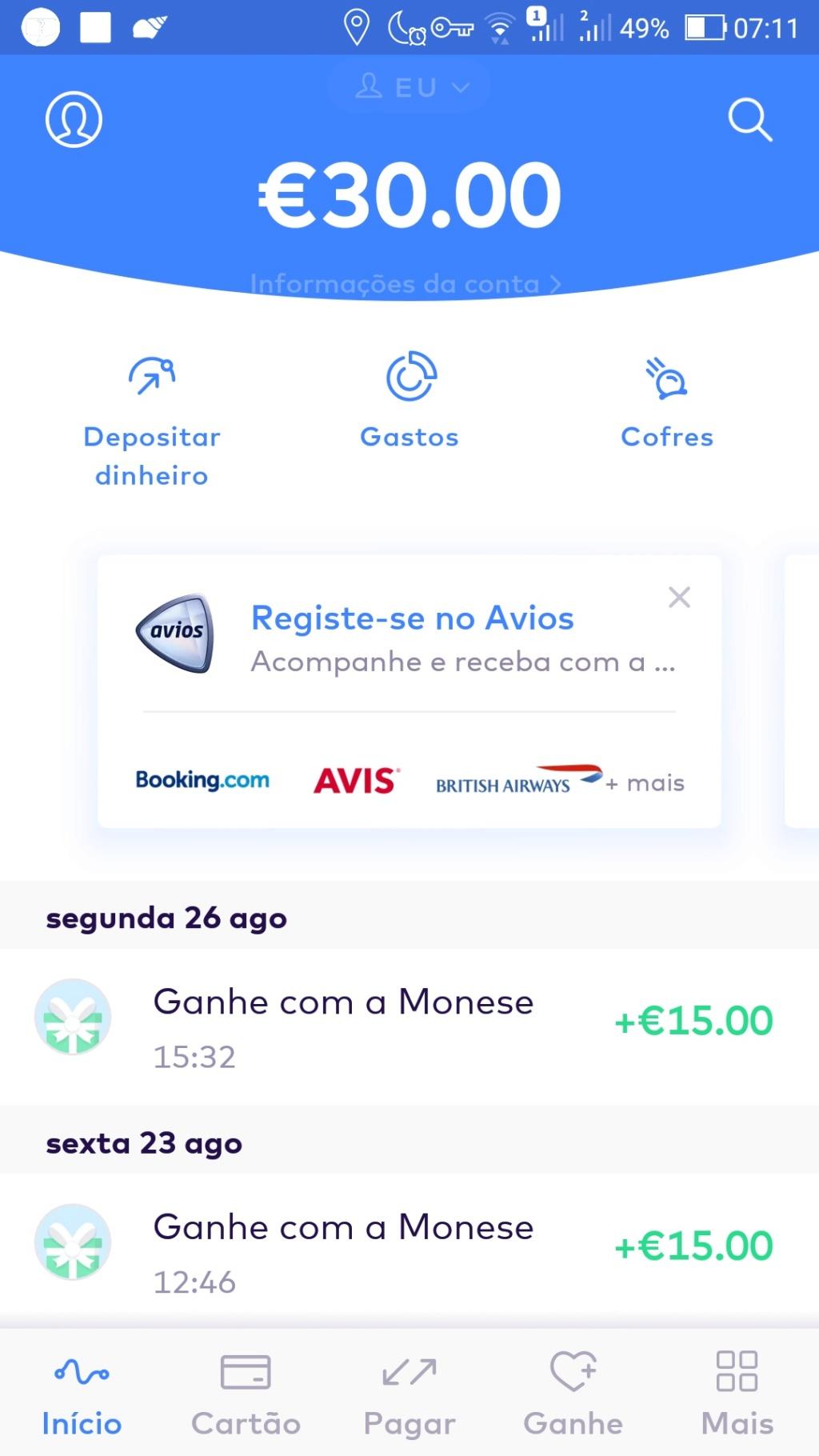 Oportunidade [Provado] Monese App - Ganha até 25€ (ganhei 160€) Screen57