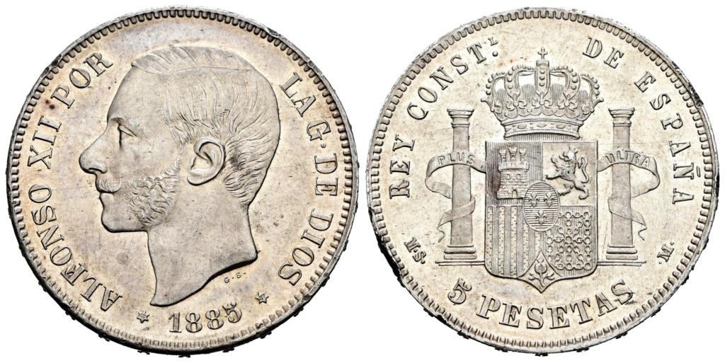 5 pesetas 1885 (*18-*87). Alfonso XII Foto_d10